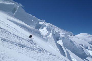 dans la face nord du mont blanc, ski exceptionnel!