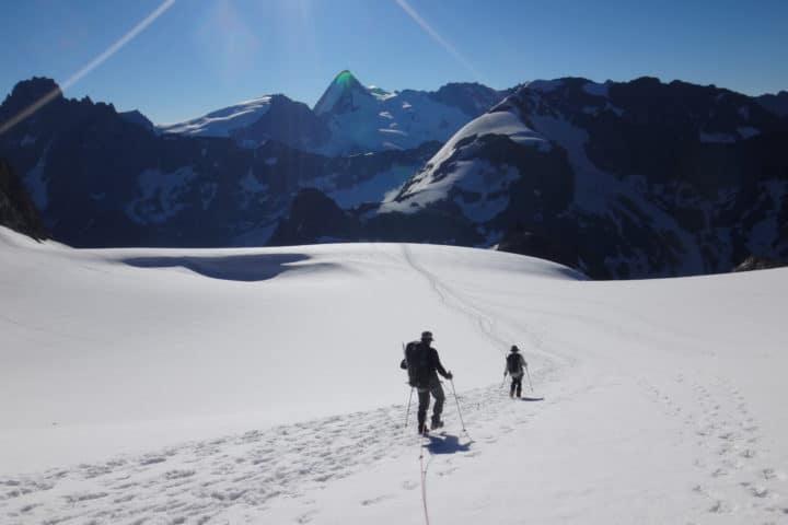 descente sur le haut glacier d'Arolla