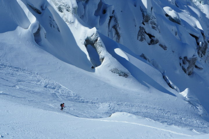 ski vers 2300m sur le glacier de Taconnaz