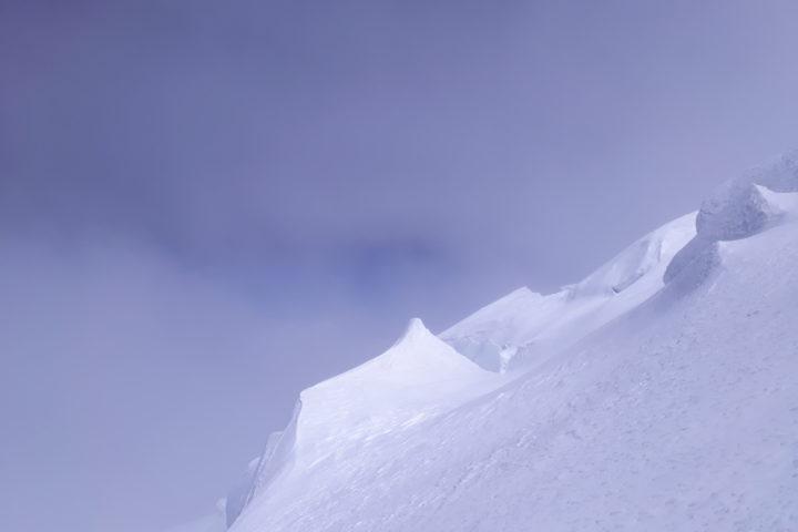 Soleil dans la descente du Dôme du Gouter