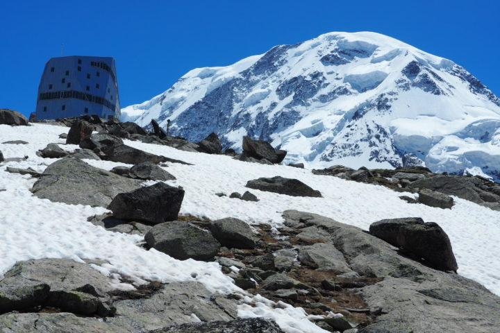 Monte Rosa Hutte et Lyskamm que nous traverserons plus tard