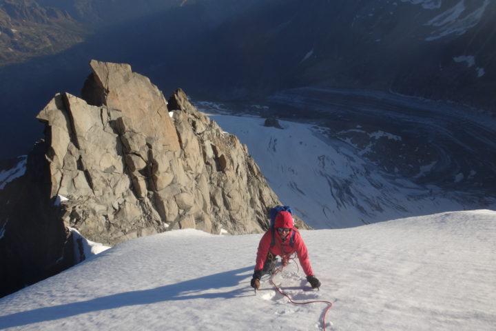 calotte de l'Aiguille Verte au-dessus du col du Nant Blanc