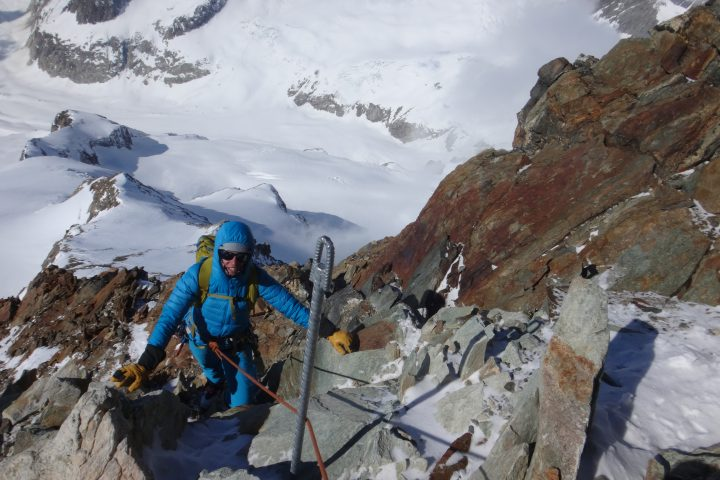 Derniers mètres sous le sommet de l'Aletschhorn