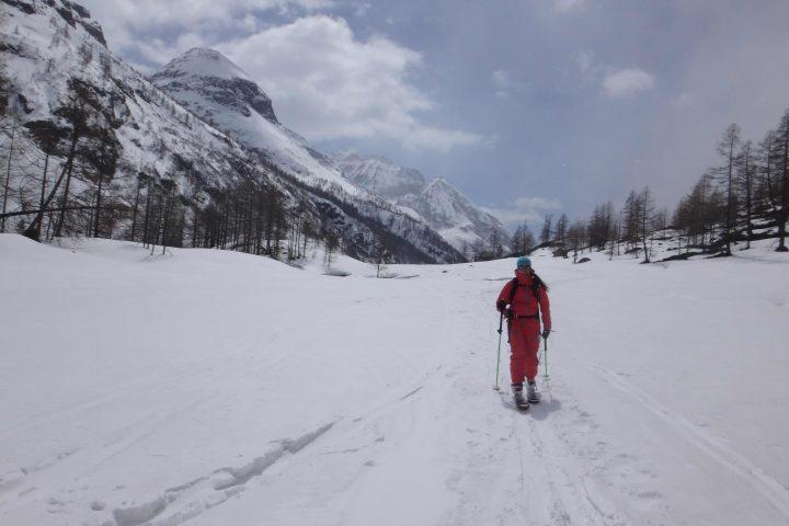 enfin en ski à l'amont du refuge de Prarayer