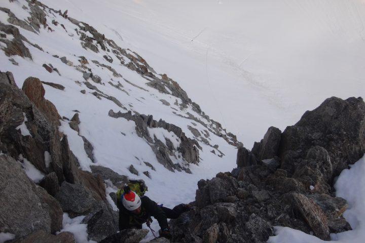 premier passage mixte au dessus de la rimaye du Chardonnet
