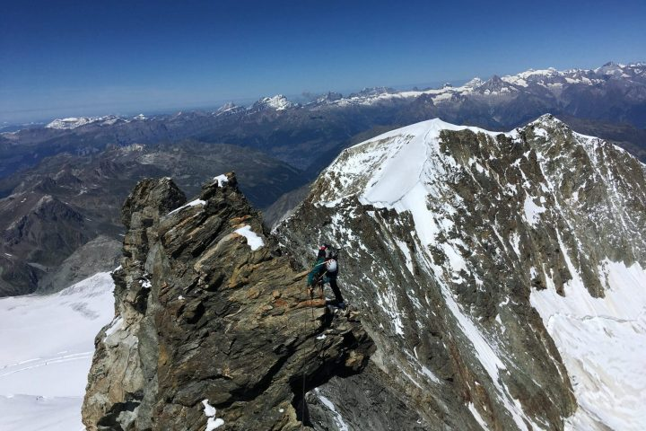 descente sur l'arête nord du Weisshorn
