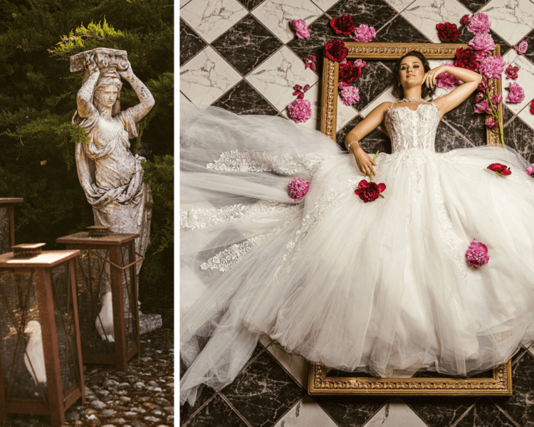 Shooting mariage d'inspiration baroque
